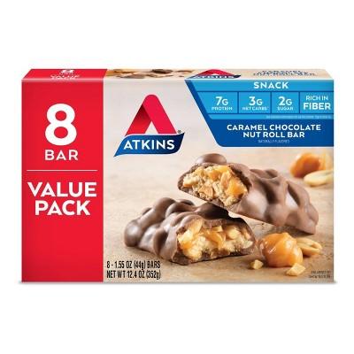Atkins Nutrition Bar - Caramel Chocolate Nut Roll - 8ct
