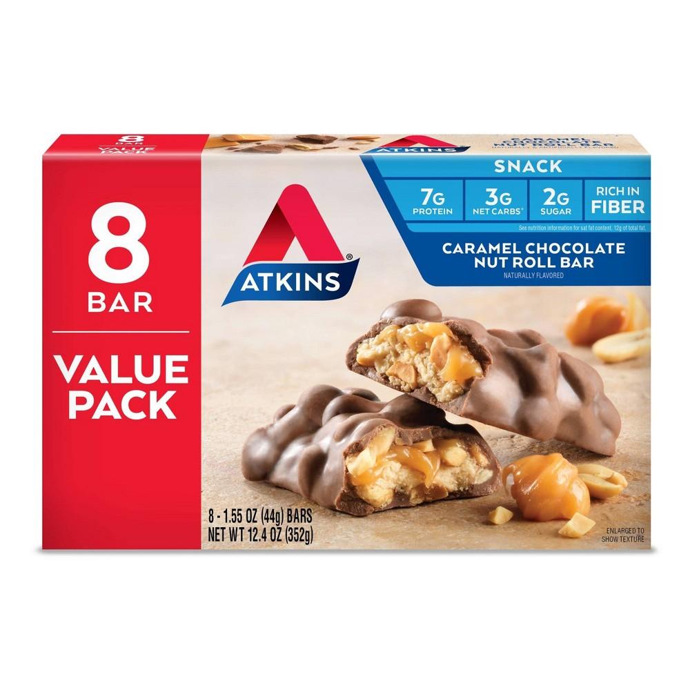 Atkins Nutrition Bar Caramel Chocolate Nut Roll 8ct