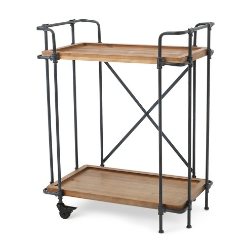 Eden Firwood and Iron Bar Cart - Antique Finish - Christopher Knight Home - image 1 of 4