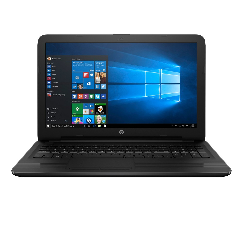 HP Windows 10 Notebook 15-BA057NR 15.6 Laptop Jet Black Take everything you need with you when you leave the house with the HP Windows 10 Notebook Laptop. This 15.6-inch laptop comes with all the basics you need — up to 2.2 processor gigahertz, 2MB cache memory, 4GB Ram and more. Built-in webcam and speaker allows you to chat with friends and family all over the globe while the 1TB hard drive capacity gives you all the storage you need for the thousands of photos and videos you take while on vacation. Color: Jet Black.