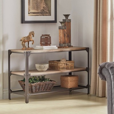Chimney Hill Rustic Industrial Metal/Wood TV Stand Console Table Brown    Inspire Q