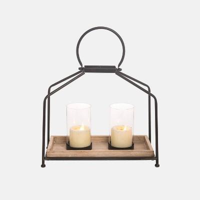2 Pillar Modern Outdoor Lantern Candle Holder - Foreside Home & Garden