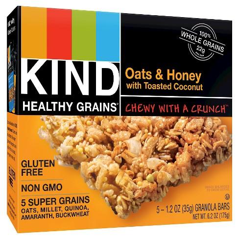 KIND Healthy Grains Oats & Honey, Gluten Free Granola Bars - 5ct - image 1 of 4