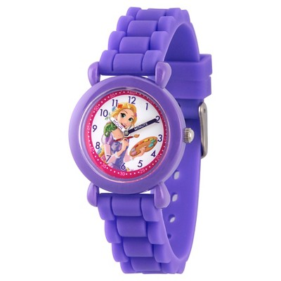 Girls' Disney Princess Rapunzel Purple Plastic Time Teacher Watch, Purple Silicone Strap, WDS000147