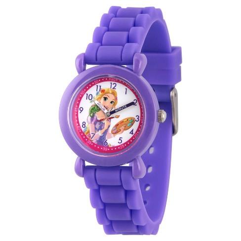 Girls' Disney Princess Rapunzel Purple Plastic Time Teacher Watch, Purple Silicone Strap, WDS000147 - image 1 of 4