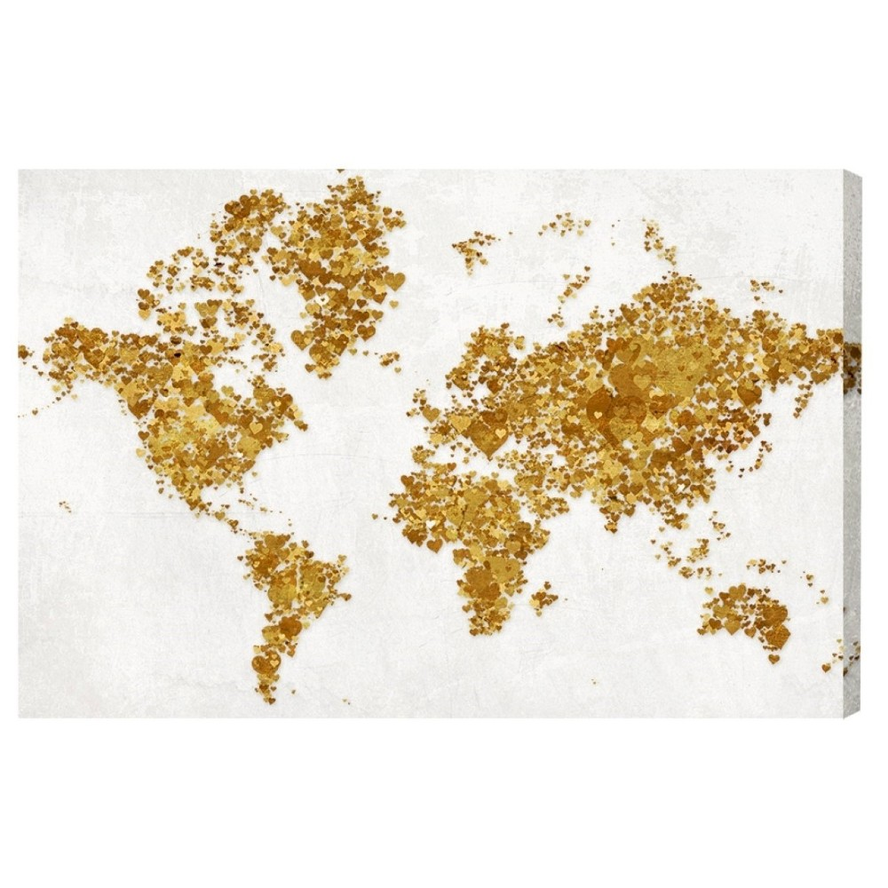 "Image of ""Oliver Gal Unframed Wall """"All The Love In The World"""" Canvas Art (24x16), Gold White"""
