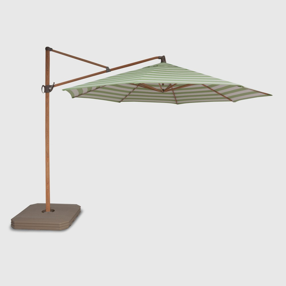 Image of 11' Offset Cabana Stripe Patio Umbrella Green - Light Wood Pole - Threshold