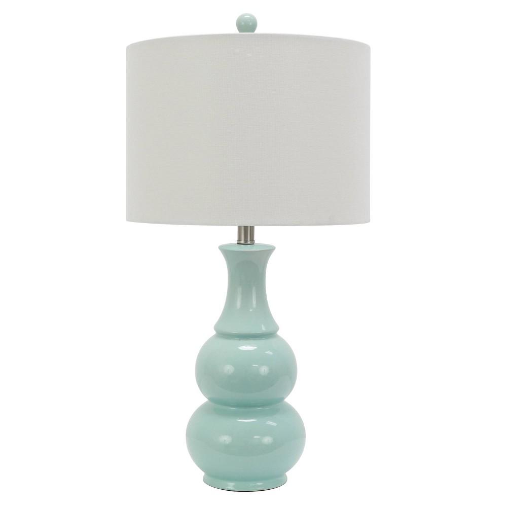 Image of Harper Ceramic Table Lamp Aqua (Includes Energy Efficient Light Bulbs) - Decor Therapy