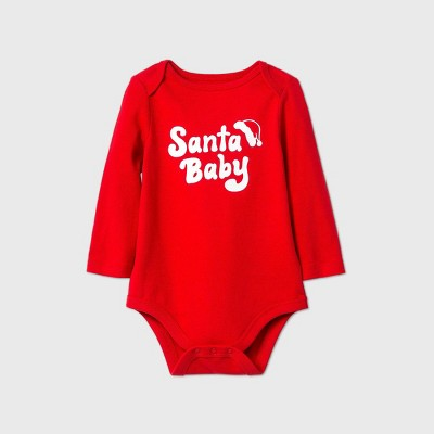 Baby 'Santa Baby' Long Sleeve Bodysuit - Cat & Jack™ Red 0-3M