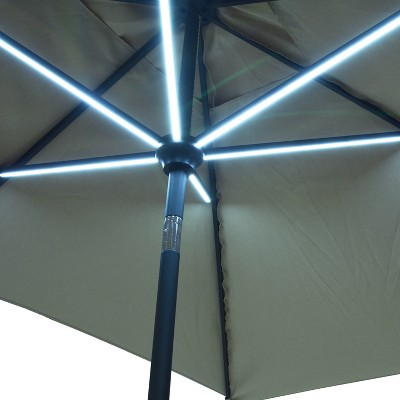 6.5u0027x10u0027 Rectangular Solar Patio Umbrella   Navy   Black Pole   Threshold™
