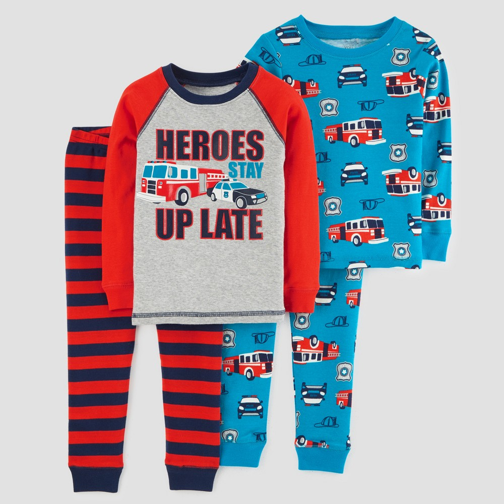 Toddler Boys' 4pcc Heroes Long Sleeve Pajama Set - Just One You made by carter's Red 2T