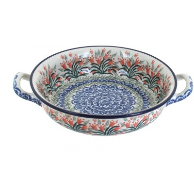 Blue Rose Polish Pottery Spring Tulip Small Round Casserole with Handles