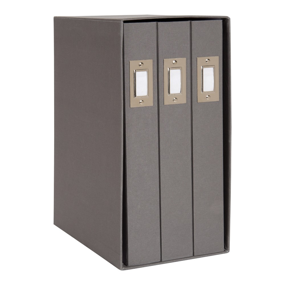 Image of Set of 3 Cydney Fabric Photo Albums In Display Box Gray - Designovation