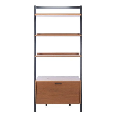 "71.96"" Vlad 3 Shelves and 1 Door Etagere Natural/Charcoal - Safavieh"