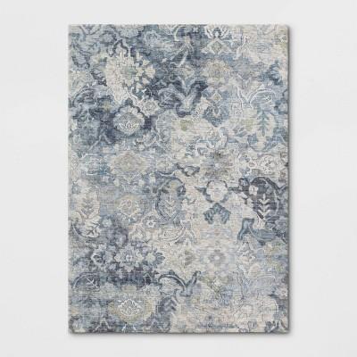 Distressed Floral Area Rug Blue - Threshold™