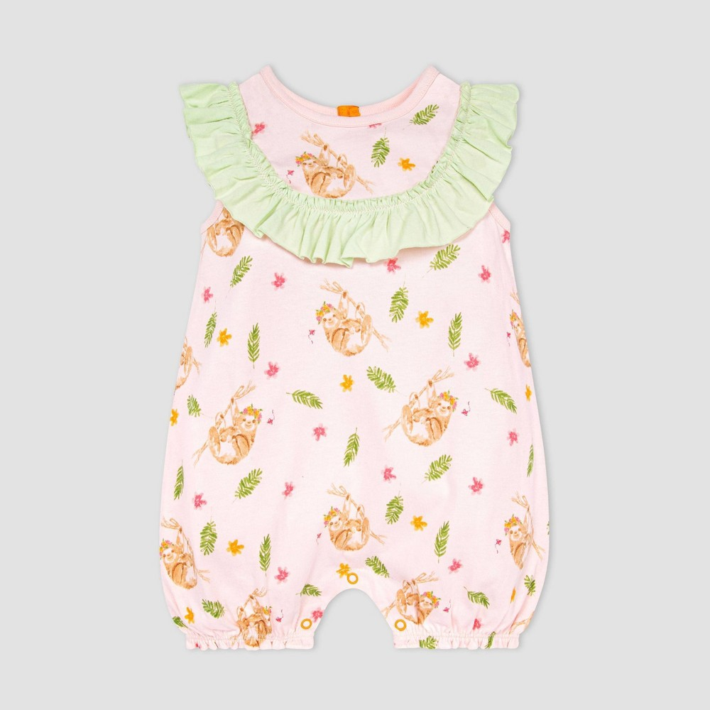 Burt 39 S Bees Baby 174 Baby Girls 39 Curious Sloth Bubble Romper Pink 24m