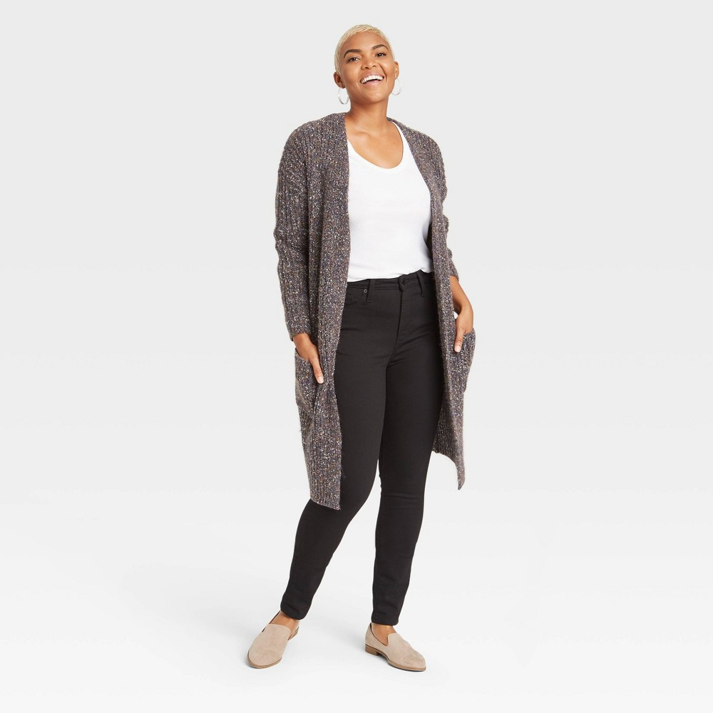 Women 39 S High Rise Fleece Lined Skinny Ankle Jeans Universal Thread 8482 Slate Black 00