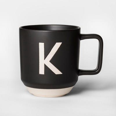 16oz Monogram Stoneware Mug Black/White K - Project 62™