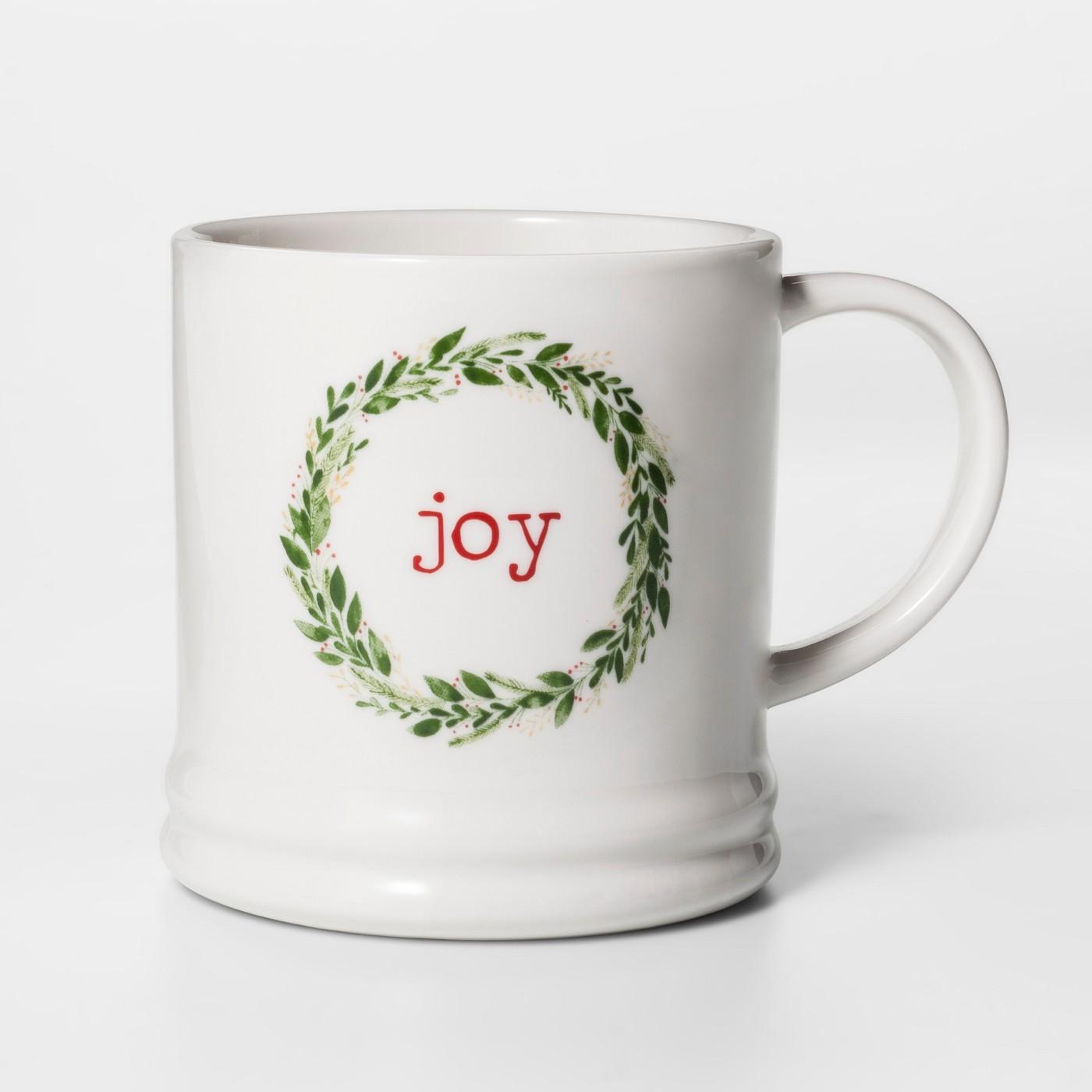 """16oz Porcelain Joy Classic Wreath Mug - Thresholdâ""""¢ - image 1 of 1"""