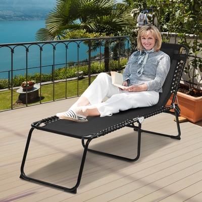 Costway Folding Beach Lounge Chair Heightening Design Patio Lounger w/ Pillow Black\Grey