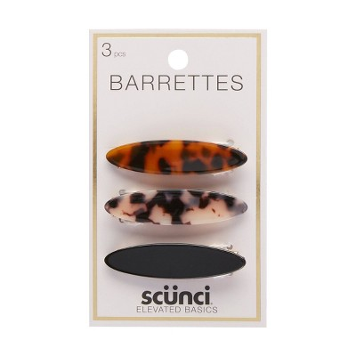 scunci Barrettes - Assorted/Tort/Black - 3pk
