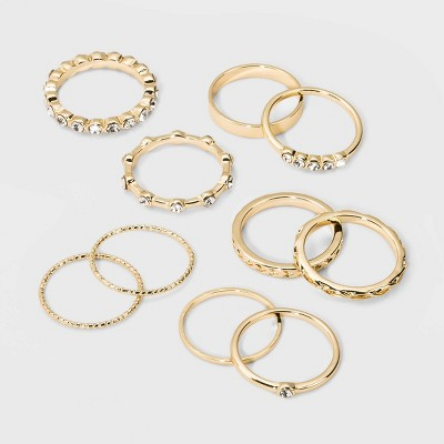 Casted Metal, Acrylic Crystal Stone Multi Ring Set 10pc - Wild Fable™ Gold