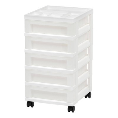 IRIS 5 Drawer Storage Cart with Organizer Top