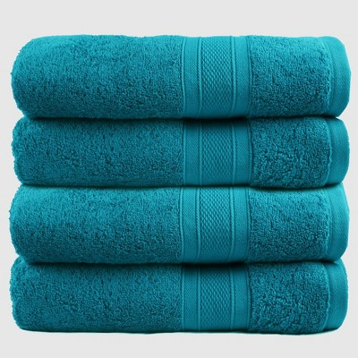 4pc Feather Touch Cotton Bath Towel Set Teal - Trident Group