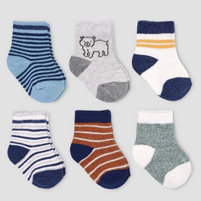 Baby Boys' 6pk Stripe Socks - Just One You® made by carter's 0-3M