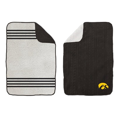 NCAA Iowa Hawkeyes Cable Knit Embossed Logo with Sherpa Stripe Throw Blanket