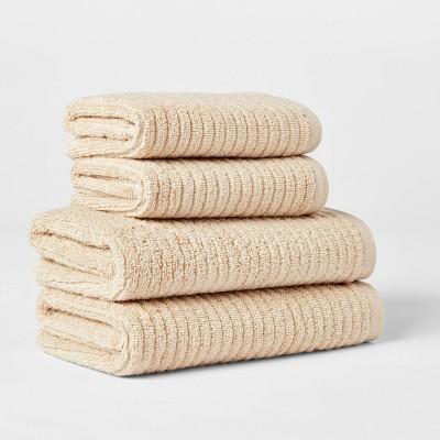 4pk Quick Dry Ribbed Hand/Wash Towel Set Tan - Threshold™