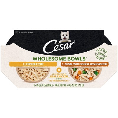 Cesar Wholesome Bowls Chicken Wet Dog Food - 3.0oz/6ct Variety Pack