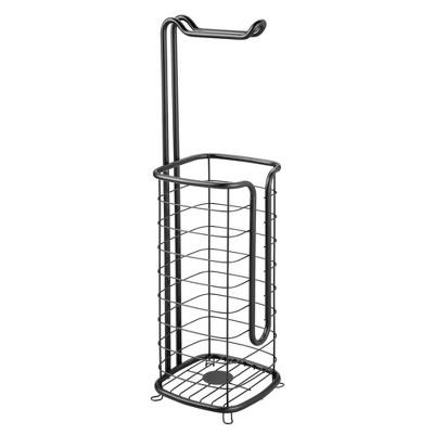 mDesign Metal Toilet Paper Stand Holder/Dispenser - Holds 3 Spare Rolls