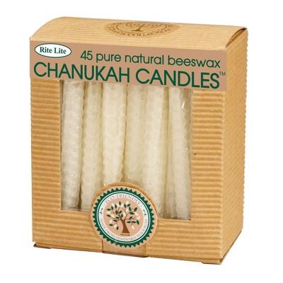 "Rite Lite 45ct Eco-Friendly Natural Beeswax Hanukkah Menorah Candles 4"" - White"