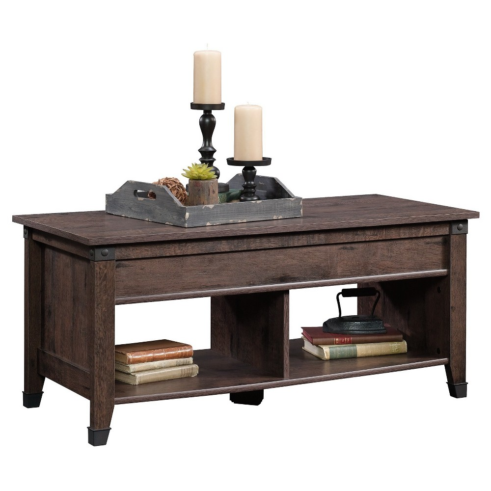 Carson Forge Lift Top Coffee Table Dark Brown Sauder