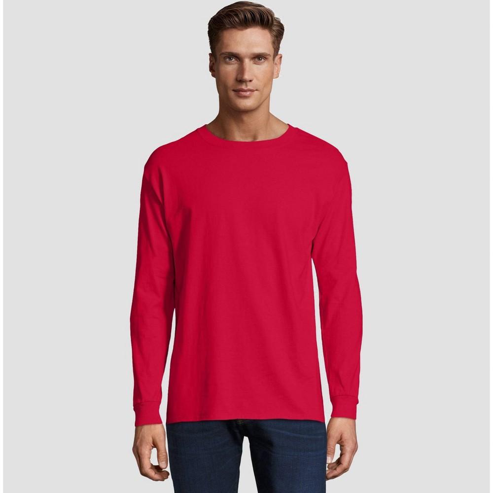 Image of Hanes Men's Long Sleeve Beefy T-Shirt - Deep Red M, Size: Medium