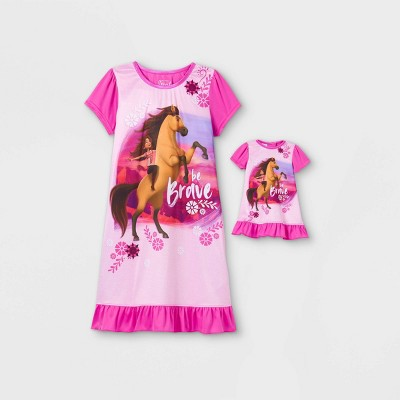 Girls' Spirit Riding Free Doll & Me Dorm Nightgown - Pink