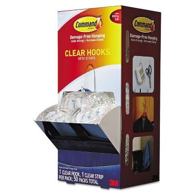 Command Clear Hooks & Strips Plastic Medium 50 Hooks w/50 Adhesive Strips per Carton 17091CLRCABP