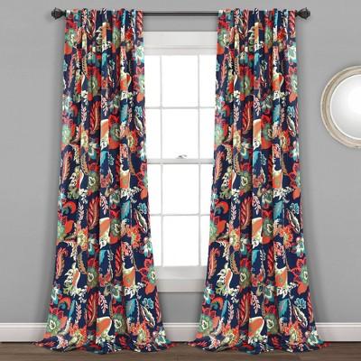Set of 2 Zara Jacobean Back Tab Rod Pocket Room Darkening Window Curtain Panels - Lush Décor