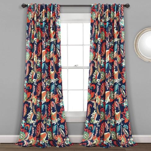 Set Of 2 84 X52 Zara Jacobean Back Tab Rod Pocket Room Darkening Window Curtain Panels Navy Lush Dcor Target