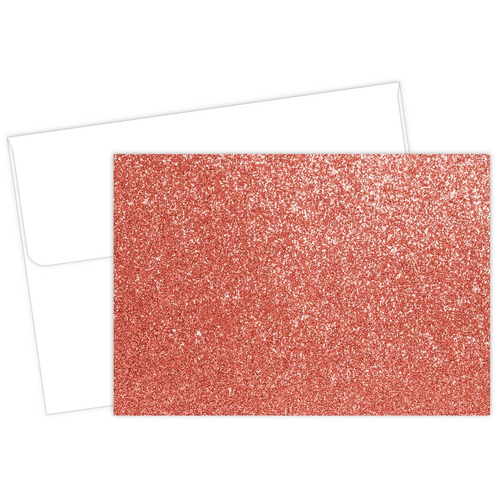 15ct Salmon Glitter Note Cards 38 Envelopes