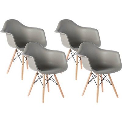 Mid-Century Modern Style Plastic DAW Shell Dining Arm Chair with Wooden Dowel Eiffel Legs, Black