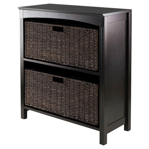 Terrace 3 Piece Set Storage Shelf with Baskets   - Espresso, Chocolate - Winsome - image 1 of 1