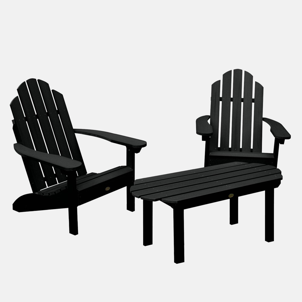 Image of 3pc Classic Westport Adirondack Conversation Patio Set Black - highwood