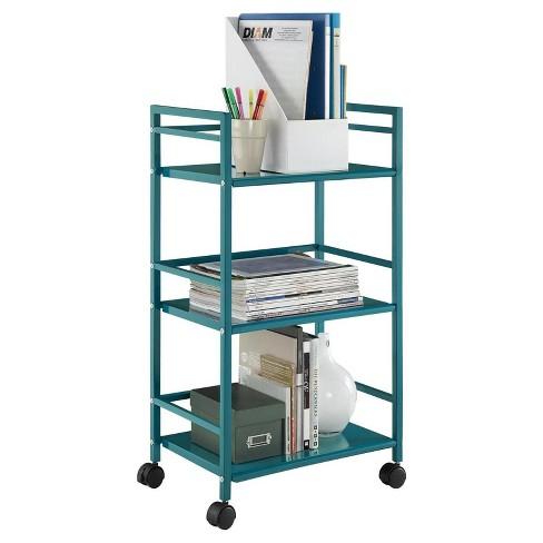 Trinity 3 Shelf Metal Rolling Utility Cart Room Joy