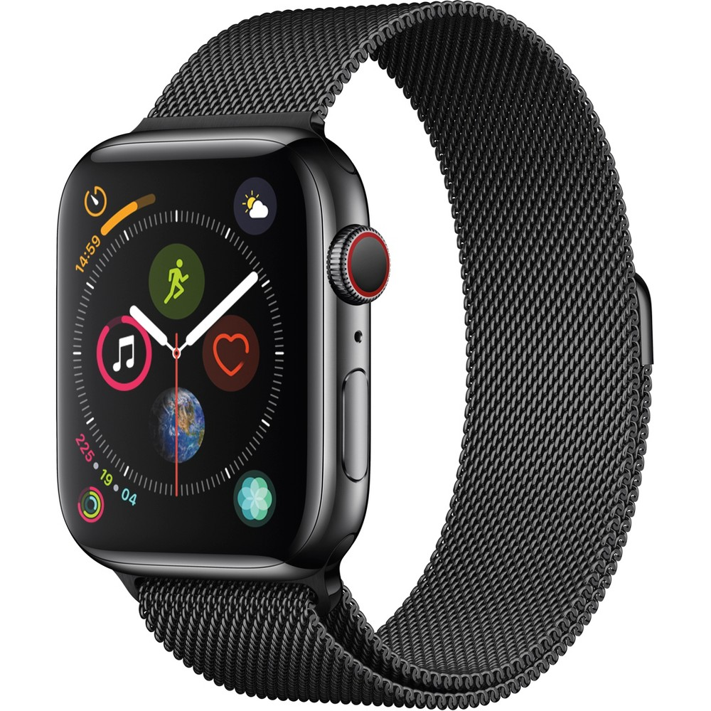Apple Watch Series 4 Gps & Cellular 44mm Space Black Stainless Steel Case with Milanese Loop - Space Black Fundamentally redesigned and reengineered. The largest Apple Watch display yet. Built-in electrical heart sensor. New Digital Crown with haptic feedback. Low and high heart rate notifications. Fall detection and Emergency Sos. New Breathe watch faces. Automatic workout detection. New yoga and hiking workouts. Advanced features for runners like cadence and pace alerts. New head-to-head competitions. Activity sharing with friends. Personalized coaching. Monthly challenges and achievement awards. Built-in cellular lets you use Walkie-Talkie, make phone calls, and send messages. Stream Apple Music and Apple Podcasts. And use Siri in all-new ways—even while you're away from your phone. With Apple Watch Series 4, you can do it all with just your watch. Selection may vary; see a sales associate for available models. Apple Watch Series 4 (Gps + Cellular) requires an iPhone 6 or later with iOS 12 or later. Wireless service plan required for cellular service. Apple Watch and iPhone service provider must be the same. Not all service providers support enterprise accounts; check with your employer and service provider. Roaming is not available outside your carrier network coverage area. Contact your service provider for more details. Apple Music requires a subscription. Compared with the previous generation. Iso standard 22810:2010. Appropriate for shallow-water activities like swimming. Submersion below shallow depth and high-velocity water activities not recommended. Color: Black.