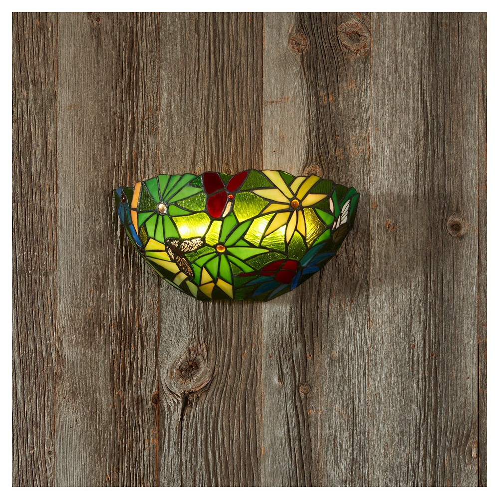 Image of Battery-Operated Stained Glass Half Moon Rain Forest Sconce with remote