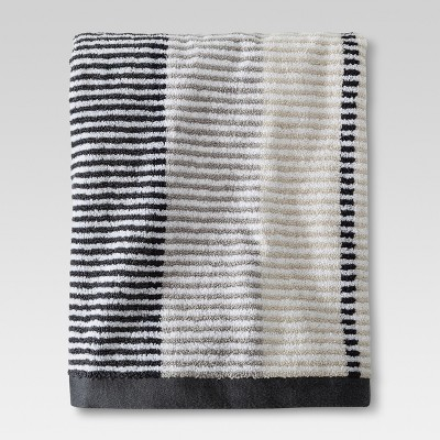 Stitch Stripe Bath Towel Gray - Threshold™