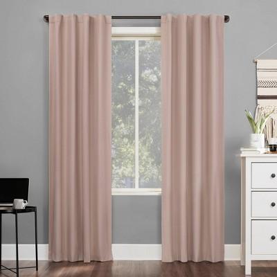 "63""x40"" Cyrus Thermal 100% Blackout Back Tab Curtain Panel Pink - Sun Zero"