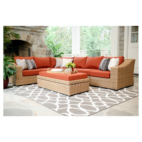 Elizabeth 6-Piece Sectional with Sunbrella Fabric Canvas - Brick - image 1 of 6